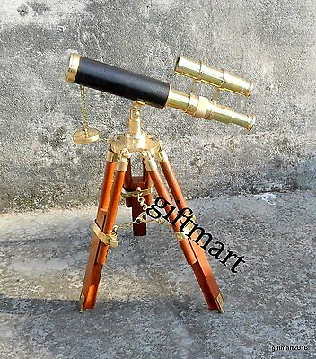 Nautical Double Barrel Brass Telescope With Wooden Tripod Stand Working Spyglass
