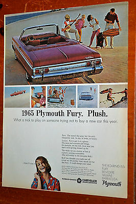 Sweet 1965 Plymouth Fury Convertible Ad - Cool Vintage Retro Classic 60S Auto