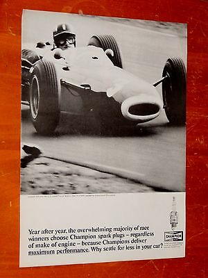 Graham Hill In Brm Race Car Wins U.s. Grand Prix - 1965 Champion Spark Plug Ad