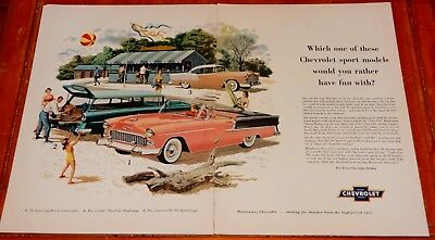 Coral 1955 Chevy Bel Air Convertible Coupe Wagon Large Ad - Vintage Classic 50S