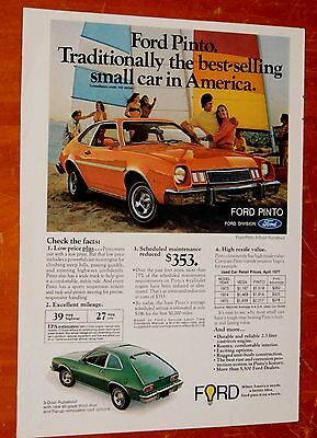 SWEET 1978 FORD PINTO RUNABOUT AD - 70s VINTAGE RETRO COMPACT CAR