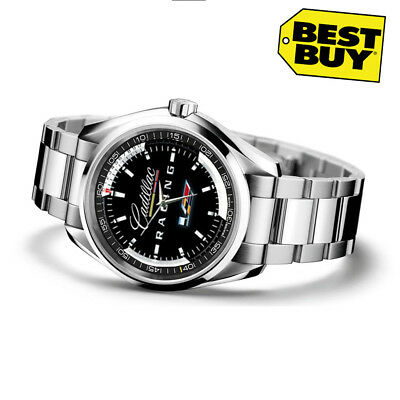 NEW Luxury Stainless Steel Cadillac Racing Emblem Sport Men's Watch RARE
