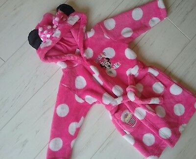 baby girls MINNIE MOUSE pink ROBE dressing gown 12-18 months