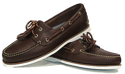 New Mens Timberland Classic Brown Leather 2 Eye  Boat Deck Shoes Uk Sizes