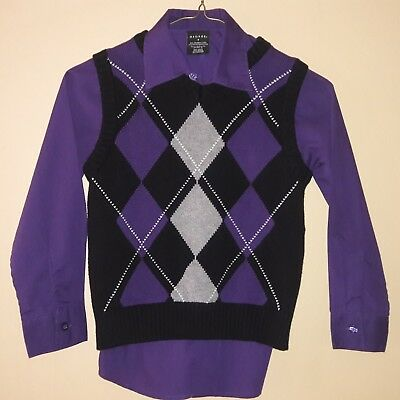 George Boys Black/Purple Sweater Vest & Purple Shirt Size 7