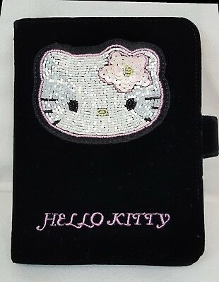 1999 Sanrio HELLO KITTY Black Velvet SEQUINED Organizer DATEBOOK Planner NEW