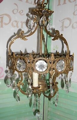 Vintage 3 light Brass and Crystal Old Basket Chandelier Petite size
