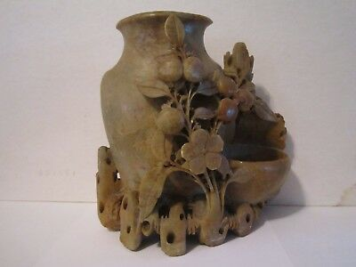 Soapstone Hand Carved Flower Vace & Vines Excellent Condition Free Shipping
