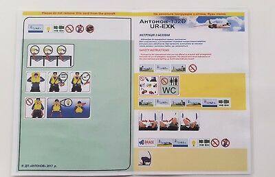 ANTONOV AIRLINES, AN-132D UR-EXK, UKRAINE, Safety card