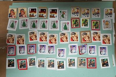 A Selection Of Unfranked High Value Christmas Gb Stamps On Paper