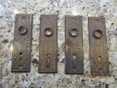 4 Antique Stamped Brass plated Victorian East Lake Doorknob Door Knob Back Plate