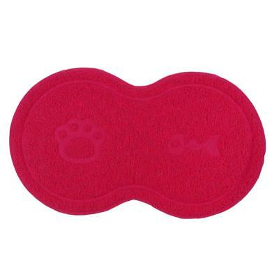Pet Cat Dog PVC Feeding Mat Separate Round Mat for Food and Water Dark Red