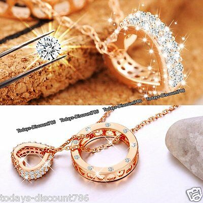 ROSE GOLD Xmas Gifts For Her Heart Crystal Necklace Wife Daughter Mum Aunt Women
