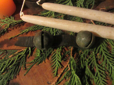 Old Early Antique Primitive Grungy 2 Sleigh Bells On Leather....