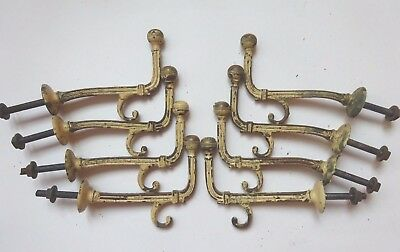 Splendid Set of 8 Antique Solid Brass Hooks removed from coat rack, art deco?