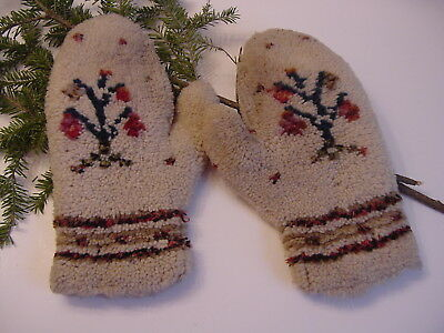 RARE Antique 19th c. Pair of Hand Knit & Hooked Wool Mittens Flower Design