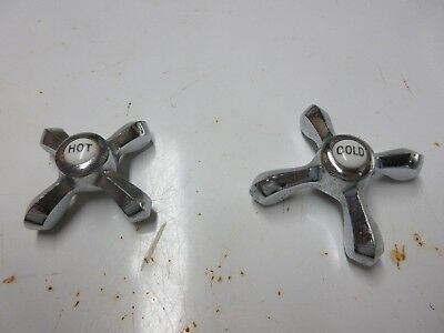 Vintage Chrome Water Faucet Knobs Hot and Cold with Porcelain Insert