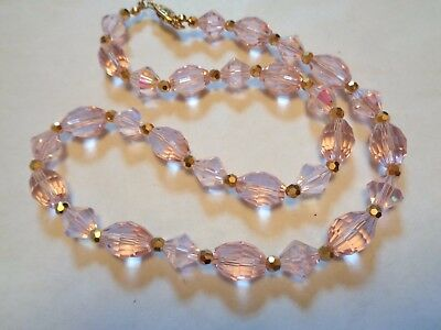 Vintage Light Pink Faceted Cut Bi Cone & Oval CRYSTAL Stone Beaded Necklace