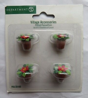 Dept 56 Potted Poinsettias Set Of 4 Christmas Village Accessories 53105 Clay Pot