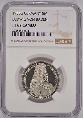 1955-G Germany Proof Silver 5 Mark NGC PF67 Cameo 2735154-004 Ludwig Von Baden