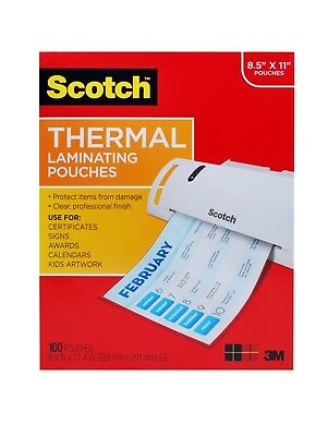 Scotch Thermal Laminating Pouches 8.9 x 11.4 Inches, 100-Pack, TP3854-100, New
