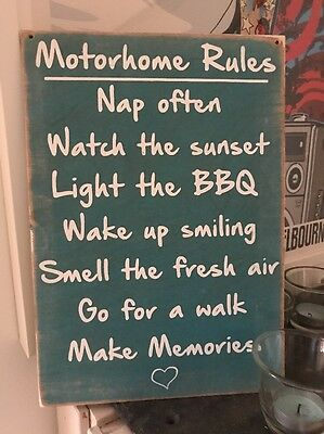 Caravan Motorhome Rules Travel Holiday Novelty Gift Wooden Hanging Plaque Sign