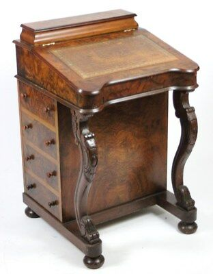 Antique Victorian Burr Walnut Davenport - FREE Shipping [PL690]