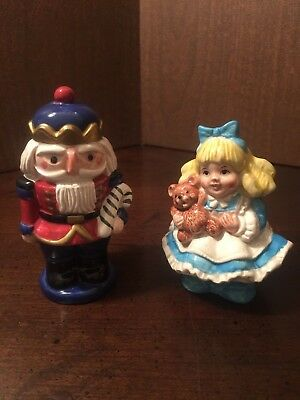 FITZ FLOYD Nutcracker/Clara Salt and Pepper Shakers 19/915 ~ Retired 1996 ~ NIB