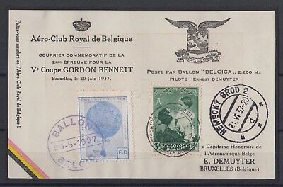 Belgique-België 1937 Courrier officiel de la Coupe Gordon Bennett, TB