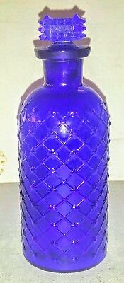 """Cobalt Quilted POISON Bottle with Original embossed """"POISON"""" stopper , 5 1/2"""""""