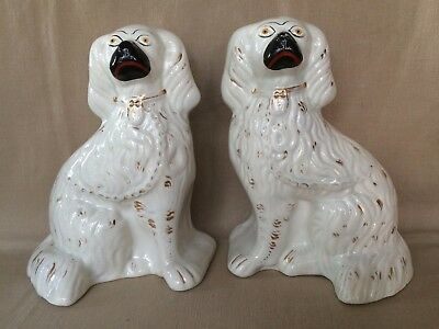 2 vintage Staffordshire Style Mantelpiece White Spaniel WALLY DOGS -26 cm tall