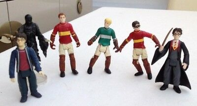 Harry Potter Quidditch Figures x 3 , Uniform With Wand & Casual Harry Small Play