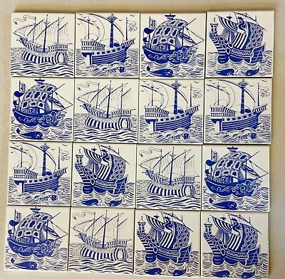 12 blue sailing ships, William de Morgan reproductions,on white wall tiles