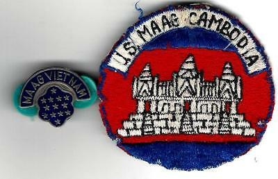 VN War Rare,used MAAG Cambodia Patch, and MAAG VN beercan DI. VNmd , SF,advisor