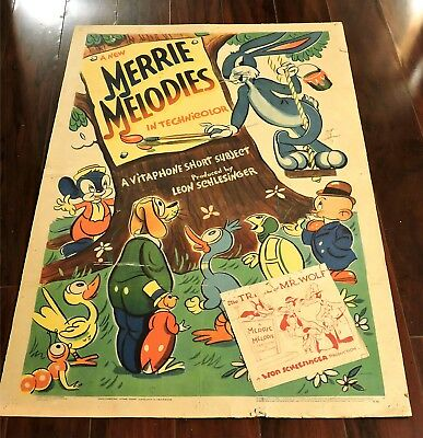 Merrie Melodies Bugs Bunny 1941/1942 Stock One Sheet With Snipe