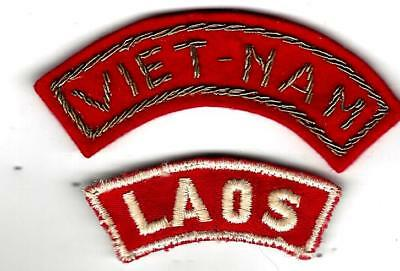 VN War  Bullion w/snaps VIETNAM tab,& used Laos tab/ patch. Both rare and  cool!