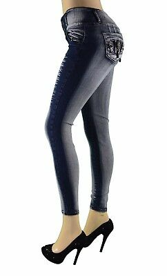 High Waist  Stretch Push-Up Colombian  Levanta Cola Skinny Jeans in DK. BLUE 729