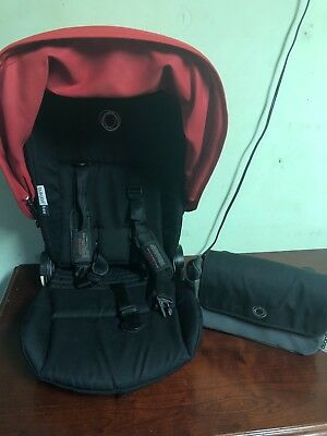 bugaboo bee plus seat frame, seat liner, straps, canopy and organizer