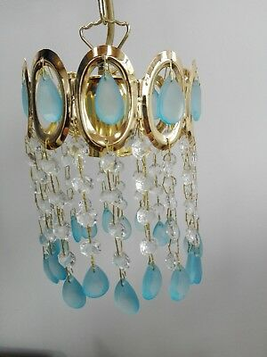 Blue and clear glass ceiling pendant lampshade