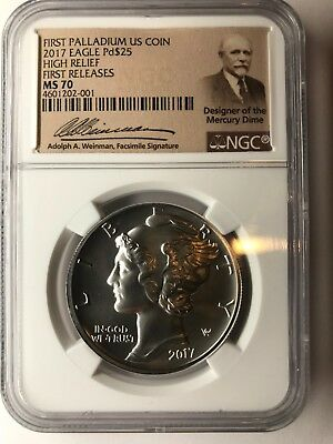 $25 Palladium Eagle High Releif NGC MS 70 FIRST Release