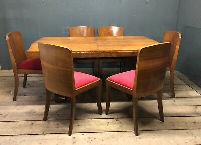 EPSTEIN Vintage Art Deco c1930s Stunning Walnut Dining Table-6 Chairs & Cabinet
