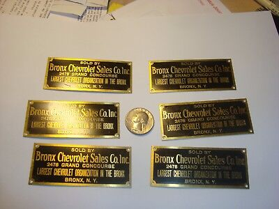 (6) Bronx New York Chevrolet Sales Co. Inc. antique brass dealer dash tag