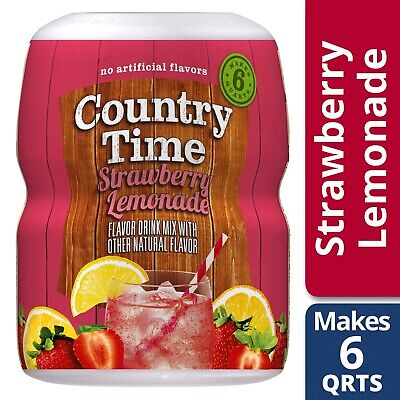 New Country Time Strawberry Lemonade Drink Mix 18Oz Good Source Of Vitamin C