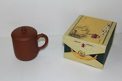 Bamboo, Chinese Yixing, Purple Clay, Zisha Tea Cup w/ Lid,