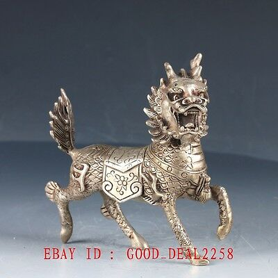 Old Chinese Silver Copper HandMade Carved Unicorn Statue BT106