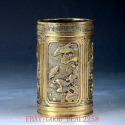 Chinese Brass Handwork Carved Lotus & Fish Brush Pots W Xuande Mark  HT144
