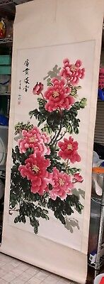 Chinese Painting / Peony Blossom Scroll Painting, Hand Painted