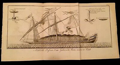 Large Antique Ship Engraving 1770
