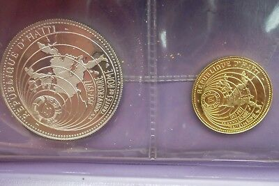 Haiti 1977 Gold 500 & Silver 50 Gourdes RARE 2 Coin Set European Market 20th Anv