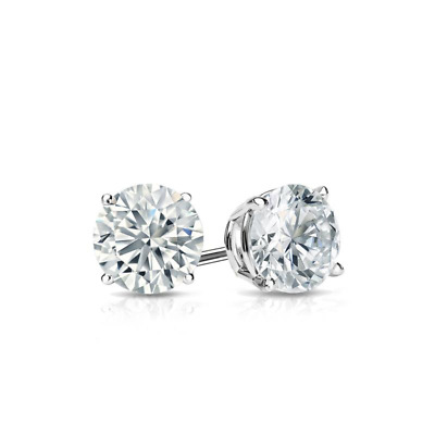 1/2 Ct Diamond Stud Earrings D/VVS1 Diamond Solitaire Earrings 14k White Gold